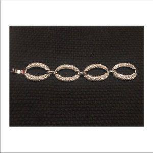 Silver bracelet with rhinestones